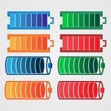 色的传染媒介电池带电指示器 免版税库存照片
