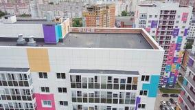 色的住宅复合体顶视图  夹子 不同的颜色美丽的时髦的房子在住宅的豪华的 库存图片