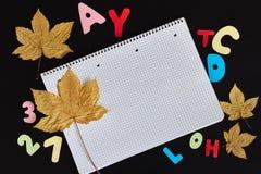 色的信件、秋叶和笔记本空白纸在黑背景的 库存图片