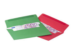 色的信包欧元 库存图片