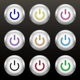 色的力量按钮 免版税图库摄影