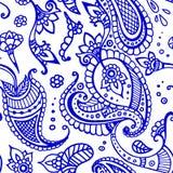 色的印地安人佩兹利样式 免版税库存图片