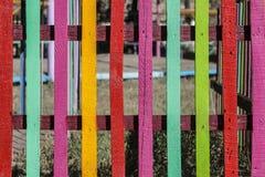 色的和明亮的儿童` s篱芭 图库摄影