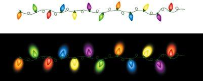 色的圣诞灯重复 库存照片