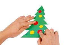 色的圣诞节创建纸结构树 库存照片