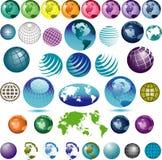色的地球集 免版税库存照片