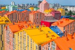 色的城市街道全景鸟瞰图  图库摄影