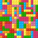 色的塑料砖无缝的传染媒介样式 库存例证