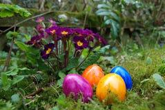 色的复活节彩蛋在庭院里 库存照片