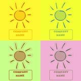 色的太阳商标 免版税图库摄影