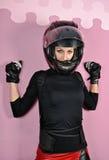 黑色的女孩与盔甲 库存照片