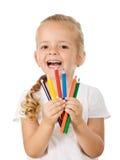 色的女孩愉快的小的铅笔 图库摄影