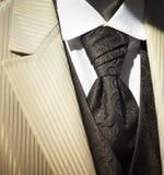 色的奶油色时髦无尾礼服婚礼 免版税库存照片