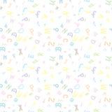 色的字母表在模式上写字 库存图片