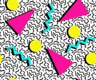 色的孟菲斯样式无缝的样式 几何元素纹理 80S-90S在白色背景的设计 库存例证