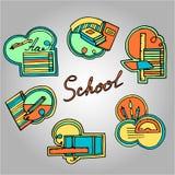色的学校用品,贴纸集合 库存图片