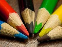 色的宏观铅笔 免版税库存图片