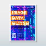 色的小故障设计背景海报模板 免版税库存照片