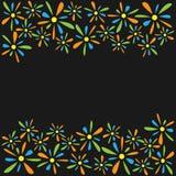 色的小花瓣框架  免版税库存图片