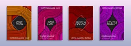 色的层封面设计的创造性的背景  美好包装的时髦标签 抽象小册子、小册子或者书 库存例证