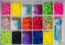 色的带和工艺箱子 库存图片