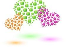 色的心脏由小方形的水晶做成 库存图片