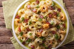 色的意大利式饺子用帕尔马干酪和香肠特写镜头 H 免版税图库摄影