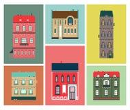 色的房子和大厦的装饰平的图象明信片和海报的 库存例证