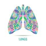 色的手拉的速写的肺 库存照片