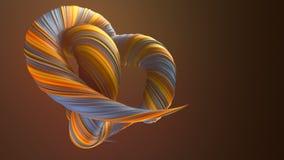 色的扭转的形状 计算机生成的抽象几何3D回报圈动画 4K??HD?? 皇族释放例证