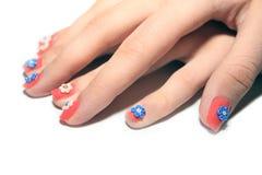 色的指甲盖 免版税库存图片