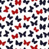 色的无缝的样式蝴蝶 库存图片
