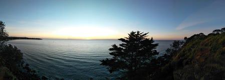 色的日落明亮的夜 图库摄影