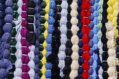 色的旧布地毯  免版税库存照片