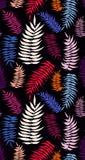 色的明亮的棕榈叶无缝的样式 库存照片