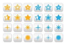 黄色的星和被设置的蓝星按钮 库存图片