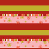 色的条纹和风格化雪花的无缝的样式 免版税库存图片