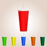 色的杯子纸张 也corel凹道例证向量 库存照片