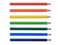 色的查出的铅笔 免版税库存照片
