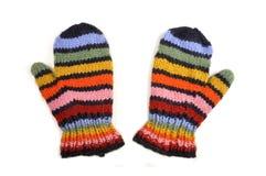 色的查出的露指手套纯空白羊毛 库存图片