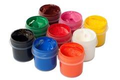 色的树胶水彩画颜料瓶子 免版税库存照片