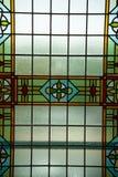 色的污迹玻璃窗,阿姆斯特丹,荷兰,2017年10月13日 免版税库存照片