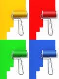 色的油漆卷 免版税库存照片