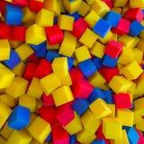 色的泡沫橡胶求背景的立方 免版税图库摄影