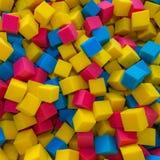 色的泡沫橡胶求背景的立方 库存图片