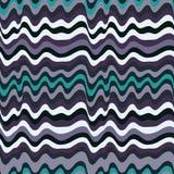 色的波浪条纹样式 水平的弯曲的线 例证 免版税图库摄影