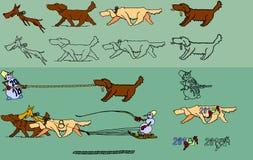 色的狗和雪人 免版税库存照片