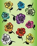 色的玫瑰设计例证 免版税库存照片