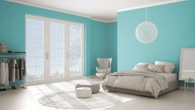 色的现代绿松石和米黄卧室有木镶花地板,全景窗口的在冬天风景,地毯,扶手椅子和 免版税库存图片