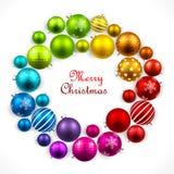 色的球圣诞节花圈 库存照片